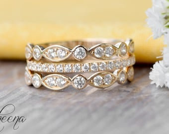Yellow Stacking Band Set of 3 - Scalloped Art Deco Bands + Half Eternity Band in 14 Karat Yellow Gold,  Engagement/Wedding Bands by Sapheena