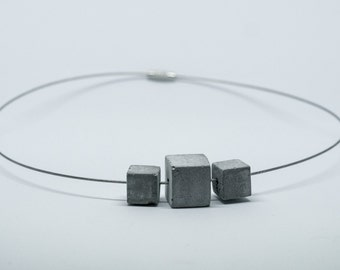 Necklace Choker trio of cement cube   light   round neck cable