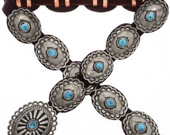 Sleeping Beauty Turquoise Concho Belt Navajo Made