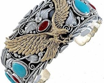 Gold Silver Turquoise Mens Cuff Big Boy Eagle Bracelet
