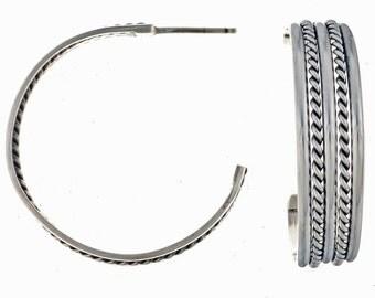 Navajo Silver Hoop Earrings Handmade By Tahe Native American Jewelry