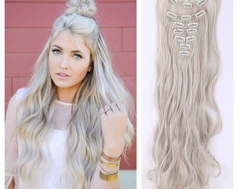 "Light Ash Blonde Hair Extensions Blonde Clip In Extensions 24"" Wavy Curly Full Set Double Weft Hair Weave PREMIUM QUALITY"