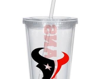 Custom Vinyl Houston Texans Football Plastic Double Wall Tumbler Cup 16oz Lid & Straw, Personalized Gift