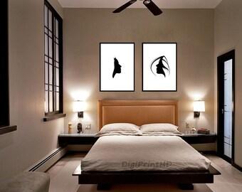 Bedroom Wall Art, Bedroom Print, His And Hers Prints, Wedding Gift, His