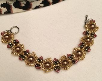 Item # 44 Embellished Golden Pearl Bracelet