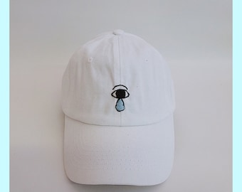 Make Me Cry Crying Eye White Hand Embroidered Dad Hat