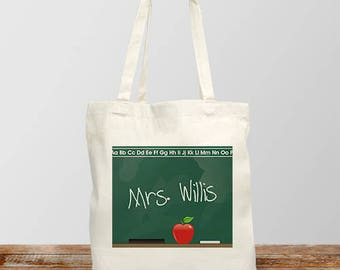 Personalized Teacher Canvas Tote Bag Chalkboard Design Custom Name Gift