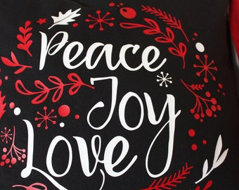 Peace Joy Love Holiday Pillow