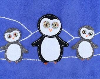 Girls Fleece Swing Coat Penguins Blue