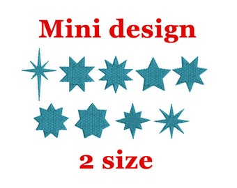 Mini Star Machine Embroidery Design. Star Embroidery Design. Star Fill Design. Embroidery Pattern. Star Set Embroidery Design.