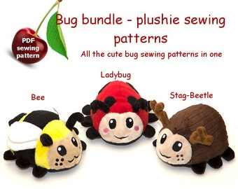 Bug bundle -3 stuffed animal handheld size plushie PDF sewing patterns -bee, ladybug, stag-beetle - cute and easy kawaii anime DIY plush toy