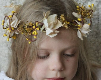 White, rustic floral crown, floral wreath with dried flowers