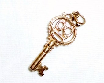 """Vintage 9k 9ct Gold Key Charm or Pendant Solid 18 Adult Legal Age 1-1/4"""" Long Marked 375 1.8g 18th Birthday Anniversary Estate for Necklace"""