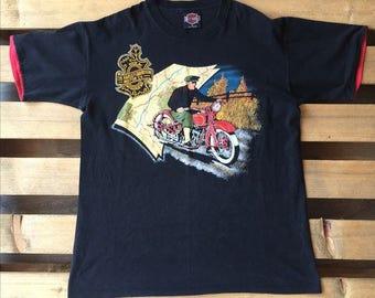 1990s vintage Harley Davidson t-shirt, 90s, biker, motorcycle, road, sky, black, hd, freedom, wind, usa, american, map, red, indian, medium