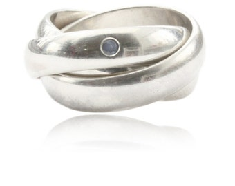 Silver ring with sapphire, rings for women, gifts for her, multiple ring, gifts for women, goldsmith