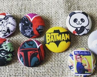 Star Wars Button/Star Wars Pin/Batman Button/Batman Pin/Rosie the Riveter Button/Rosie the Riveter Pin/Nerd Pin/Nerd Button/Pinback Button