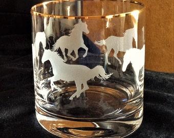 Sandcarved Horses bar glass set