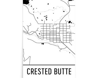 Crested Butte Map Crested Butte CO Art, Crested Butte Print, Crested Butte Poster, Crested Butte Wall Art, Map of Crested Butte, Gift Poster