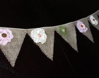 Flags in jute, with flowers Garland lace and buttons, vintage style. Ecological wall decoration, unique model.