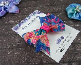Pinwheel Hair Bow Clip - Barbie