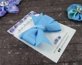Pinwheel Hair Bow Clip - Blues