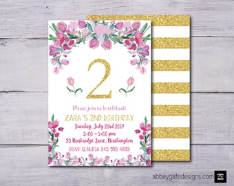 Floral Birthday Invitation, First Birthday Invitation, Girls Floral Birthday Invitation, Flower Birthday Invitation, Gold Birthday Invite