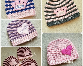 Personalized baby hat, Baby girl or boy name hat, Sizes Newborn - 12T, Made by order