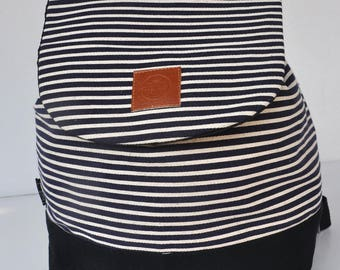 Canvas Backpack ,waist bag , black white stripebag pack,school back, holiday back,cross body back, canvas shopping back , holiday gift back,