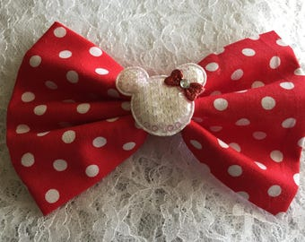 MINNIE MOUSE HAIRBOW, Red Minnie Hairbow, Red Polkadot Hairbow, Fabric Hairbow, Red Fabric Hairbow, Polkadot Minnie Hairbow, Polkadot Bow