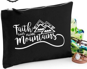 Faith can move mountains Makeup bag/purse/zipper pouch