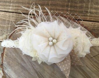 Hand made fabric flower headband
