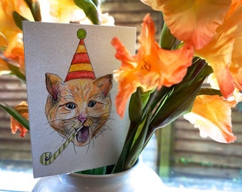 Birthday card: party cat (original drawing!)