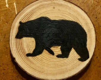 Wood burned painted Black Bear ornament