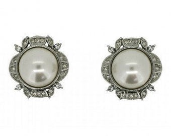 1990s Bridal Silver Tone Faux Pearl and Rhinestone Vintage Earrings