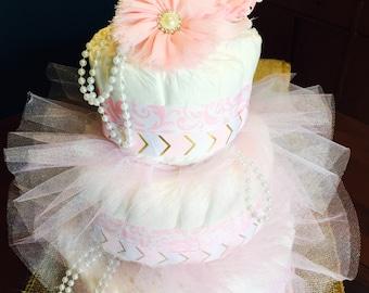 Pink Flapper Diaper Cake