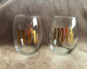 Mr and Mrs Stemless Wine Glasses Set of 2 wedding gift bridal shower bachelorette