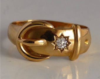 18 ct gold antique buckle ring 18 ct gold buckle ring with diamond/diamond