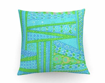 Decorative pillow, cushion cover,1960's print, turquoise cushion, throw pillow, floral pillow,home accessories,home decoration, pillow cover