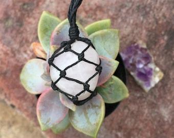 Hemp Necklace: Rose Quartz Stone  Wrapped with Hemp Cord, Crystal Necklace, Macrame, Hemp Jewelry, Crystal Jewelry, Rose Quartz
