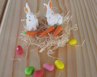 Miniature Ester Decorations, 2 Rabbits, 3 Mini Polymer Clay Carrots, 6 Mini Polymer Clay Egg in Assorted Colors, And Wood Fiber