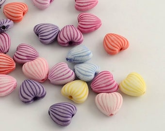 50 pc Mixed Color Striped Heart Acrylic Beads 11x10x5mm