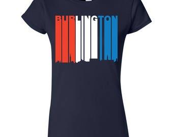 Retro Style Red White And Blue Burlington Vermont Skyline Women's T-Shirt