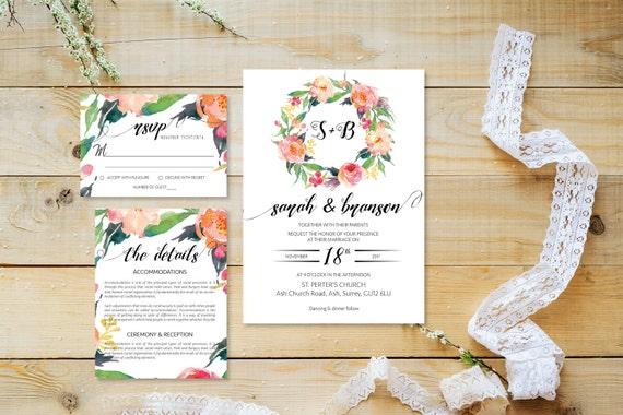 Flower wedding invite_28,Printable Wedding Invitation Suite,Wedding Invite Set,Wedding Printable,Calligraphy