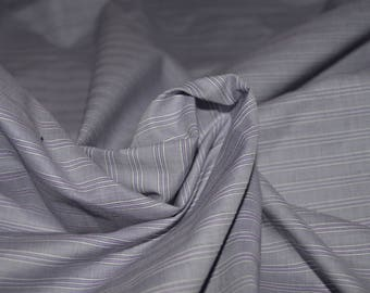 "Lilac & White Stripe Cotton Shirting Fabric 58"" Wide"
