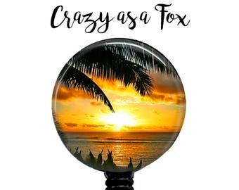 Summer Sunset Retractable Badge Holder,  Retractable Badge Reel,  Tropical Sunset Badge Reel, ID Badge Reel