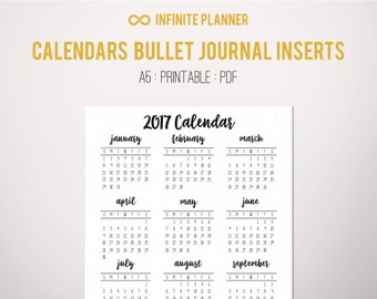 2017 Calendar Year at a Glance Page A5 or Sticker - Bullet Journal Printable PDF