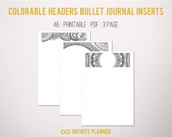 Bullet journal pages with cute colorable headers - Bullet Journal Printable
