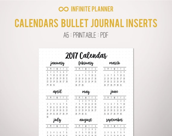 Year Calendar Bullet Journal : Calendar year at a glance page or sticker bullet