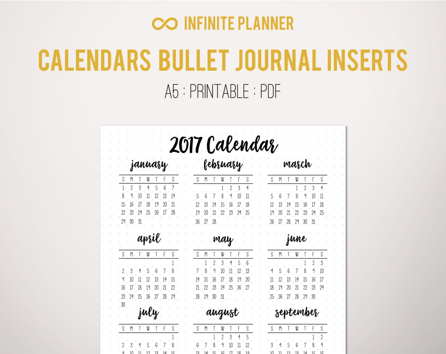 2017 Calendar Year at a Glance Page A5 or Sticker Bullet