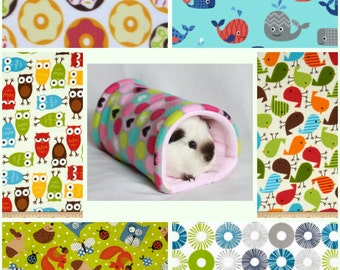Tunnel Cuddle cup bed Guinea Pig Rat Hedgehog soft fleece various colours
